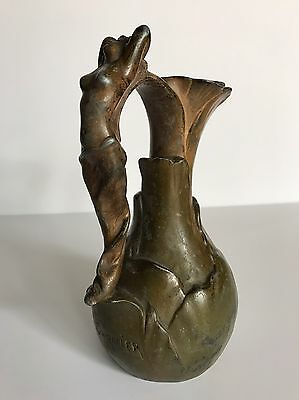 Antique Jean Garnier Nouveau Nude Woman Handle French Vase Vessel