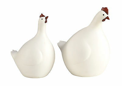"GwG Outlet Polystone Hen Rooster Statue Set of 2 in 10'', 11""H 80015"