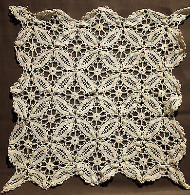 "Vintage Hand Crochet White Table Topper/doily-22"" Square"