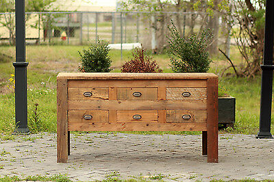 "Reclaimed Wood Apothecary Chest 60"" Hand Crafted Barn Wood Card Catalogue Buffet"