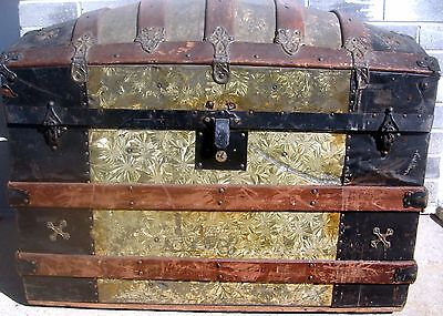 1885 Antique dome top trunk steamer camel back victorian