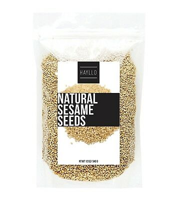 HAYLLO Premium Natural Sesame Seeds Unhalled Raw in Reseal Bag, 12 Ounces