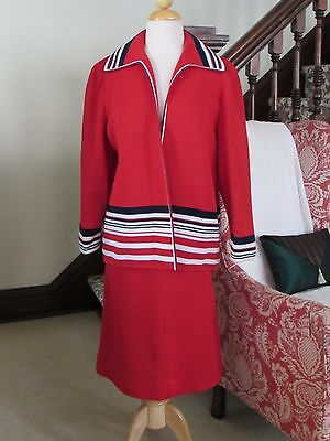 Vtg 60s 70s RED JACKET & SKIRT SUIT Textured Polyester Knit w/Stripes 22½  XXL