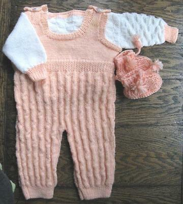 Vtg Baby Toddler Hand Knit Jump Suit Sweater Booties Peach White Romper Made