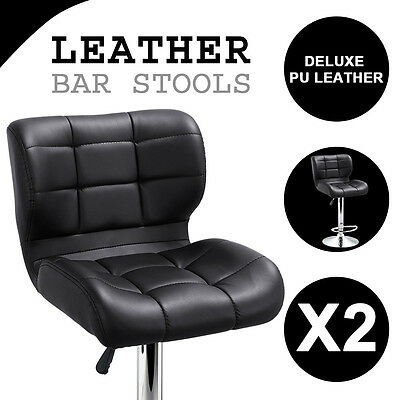 2x Elegant Bar Stools PU Leather Chrome Kitchen Chair Adjustable Gas Lift Black