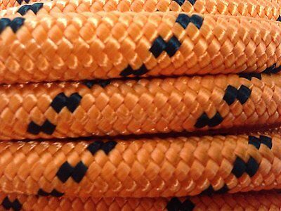 """1/2"""" By 200' Arborist Rigging Rope, Double Braided Polyester Orange/black"""