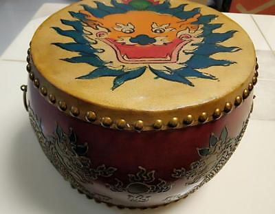 Vintage Chinese Dragon Style Rosewood Leather Drum Percussion (Low War Drum