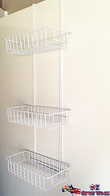 3 Tiers White Coated Over Door Shower Caddy Storage Rack Shelves HXZ1059W OZ