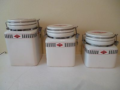 """Gibson Coca-Cola Canister Set Of 3 With Metal Locks    Size Appr. 6"""", 7"""", & 8"""""""
