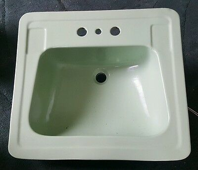 Vintage Mid Century MCM Modern Green Sink Bathroom Lavatory Vitreous China NEW