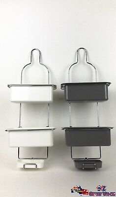 2 Tier Hanging Shower Caddy Storage Rack Organizer Shelf Metal Plastic CRM1010