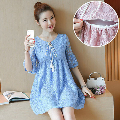 New Women Summer Casual Loose Lace Maternity Clothes Breastfeeding Nursing Dress
