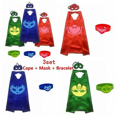 Superhero PJ Masks Cape Bracelet sets Gekko Owlette Catboy Kids Costume Party