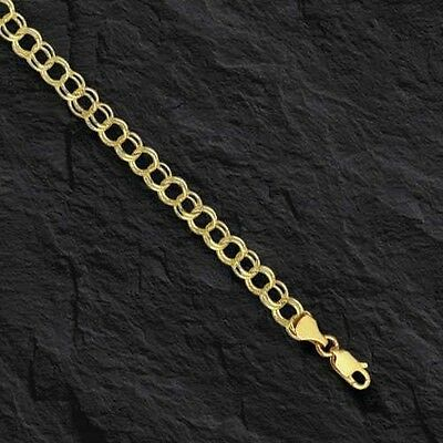 14k Yellow Gold Double Circle Link Charm Bracelet 1.75 gr  8 Inch