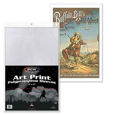 BCW 100 BAG PACK CLEAR POLY ARCHIVAL ART PRINT SLEEVES 11x17 PHOTO MAGAZINES