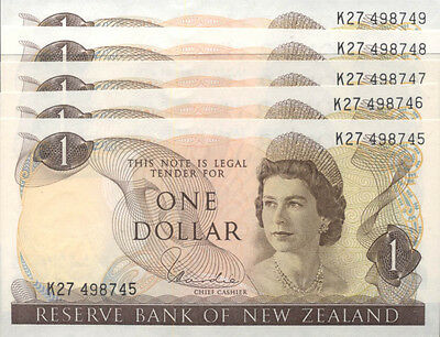 New Zealand Mint Run of 5x 1977 $1 Hardie Last Young QE2 Design Banknotes Issued