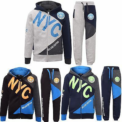 Boys NYC Deluxe Tracksuit Kids Children Hoodie Jogging Bottoms Jog suit 7-13 Yrs