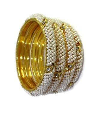 Indian Bollywood Traditional 4Ps Gold Plated Kundan Fashion Jewelry Bangles