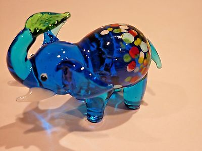 Lucky Trunk Up Elephant Hand Blown End of the Day Cobalt Glass Figurine w/Leaf