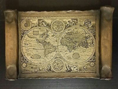 Antique Vintage Rare 1626 NEW & ACCVRAT WORLD MAP Wood Carved Scroll Old Rustic