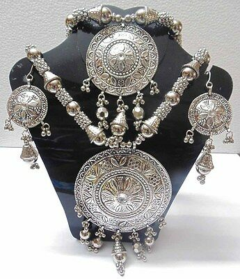 Kuchi Ethnic Oxidized Long Necklace Belly Dance Vintage Afghan Jewelry Gypsy
