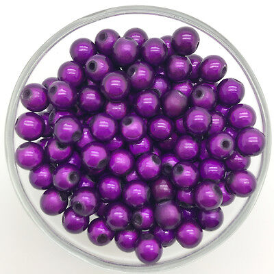 100PCS 6mm 3D Acrylic Deep purple Round Pearl Spacer Loose Dream Beads Jewelry