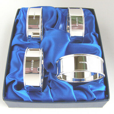 Four Silver Napkin Rings.  A Boxed Set Of 4 Hallmarked Silver Serviette Rings