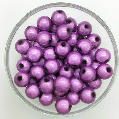 200PCS 4mm 3D Acrylic Purple Round Pearl Spacer Loose Dream Beads Jewelry Making