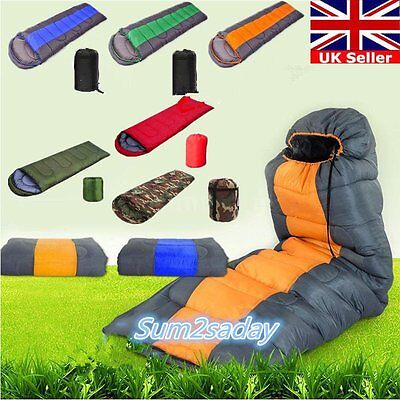3~4 Season Adult Waterproof Envelope Sleeping Bag Camping Hiking Suit Case Zip