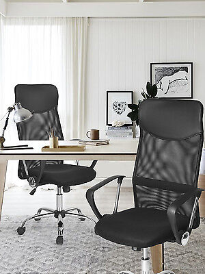 High Back Mesh Seat Adjustable Tilt Function Computer Desk Office Chair Black