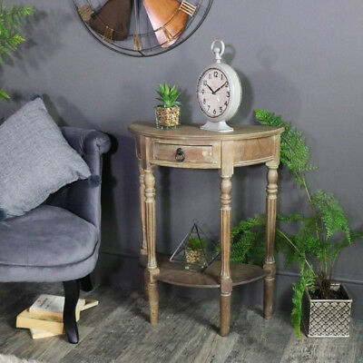 brown wooden half moon console table hall table vintage style chic furniture