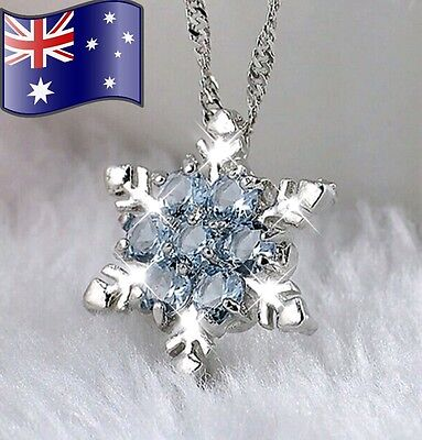 925 Sterling Silver Crystal Frozen Snowflake Necklace Pendant & Chain Jewellery