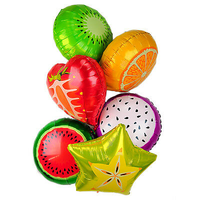 6 X Foil Helium Balloons Birthday Party Air Round Solid Colour Fruit Shape