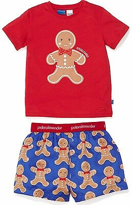 PETER ALEXANDER PJS Boys Gingerbread Set Boxer Shorts &Top 1/2/3/4 NWT Cotton PJ