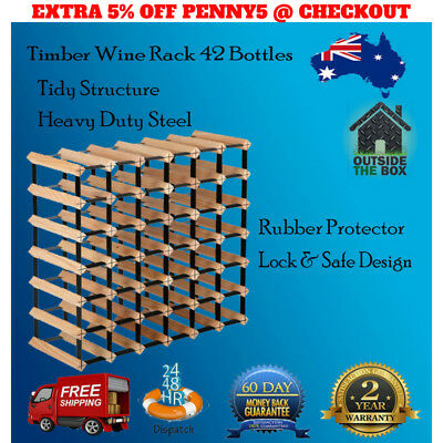 Wooden and Metal Wine Rack Pine Timber 42 Bottle Cellar Storage Stand System New