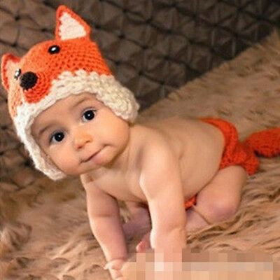Newborn Infant Baby Photography Props Hat & Pants Costume Hand Crochet Fox Baby