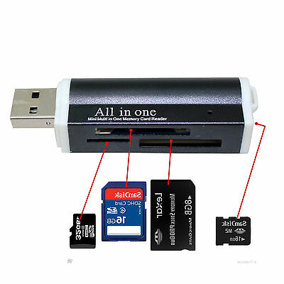 All in One USB Memory Card Reader Adapter for Micro SD MMC SDHC TF M2 Fast UK PP