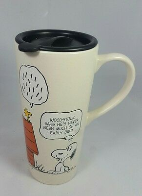 Hallmark Peanuts Snoopy & Woodstock Ceramic Mug Cup Coffee Tea With Lid Schulz