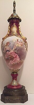 Antique Sevres  Style  Covered Vase Urn Art Nouveau  Maiden & Cherub Signed 25""