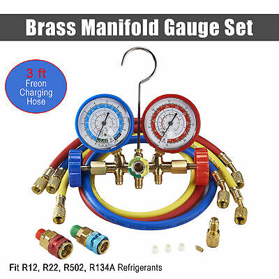 R12 R22 R502 R134A Manifold Gauge Set 3ft Hose Quick Coupler Refrigeration ACME