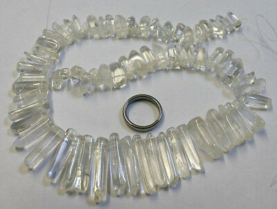 Natural Quartz Rock Crystal Stone Beads Strand 15In Long 460Ct Gem Mineral Cr14