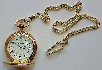 """Men's Gold tone Pocket Watch with 14"""" chain & clip, Roman Numerals, White Dial"""