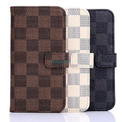 3 Color Luxury Grid Wallet PU Leather Case Cover For iphone 6 6S 7 Plus