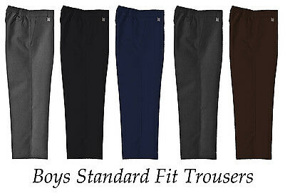 Boys School Uniform Trousers Standard Fit Half Elastic Waist Teflon Coated 3-16