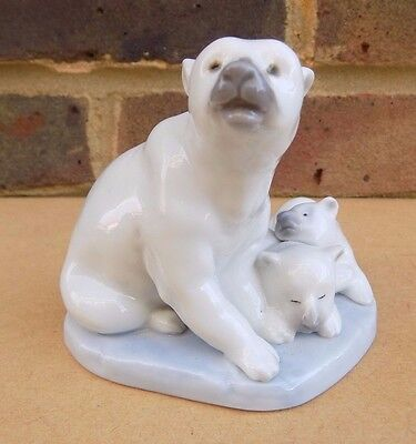 LLADRO Polar Bear with Cubs Figurine
