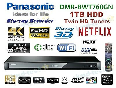 Panasonic Smart 3D Blu-Ray Dvd Recorder 4K 1Tb Hdd Twin Tuner Wifi Dmr-Bwt760 B