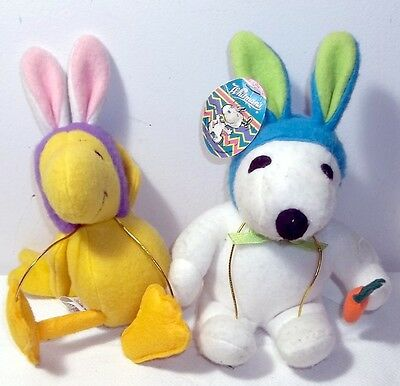 Vintage Whitman's Candy Plush Stuffed Snoopy & Woodstock Easter Bunny Rabbits