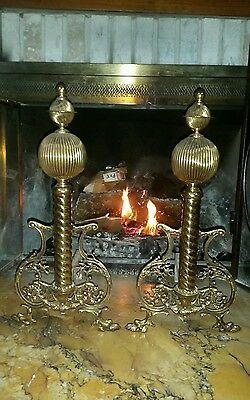 "LARGE BEAUTIFUL Brass ANDIRONS  21"" TALL Claw Foot w/Balls & Finials"