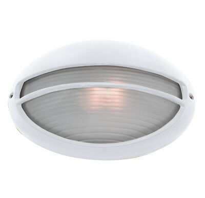 Searchlight 5544WH White IP44 Oval Bulkhead Outdoor Light With Ridged Opal Glass