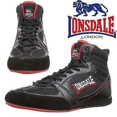 Lonsdale Boxing Boots Widmark Trainers Black Red Classic Retro Style Shoes